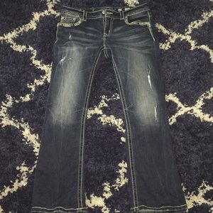 Miss me jeans blinged out and distressed size 30s